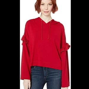 BB DAKOTA ruffle crop oversize hoodie red small